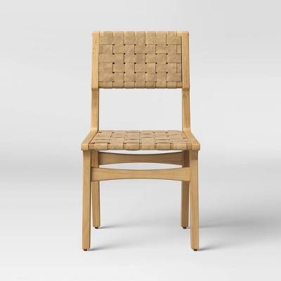 Ceylon Woven Dining Chair - White & Natural Wood - Opalhouse™