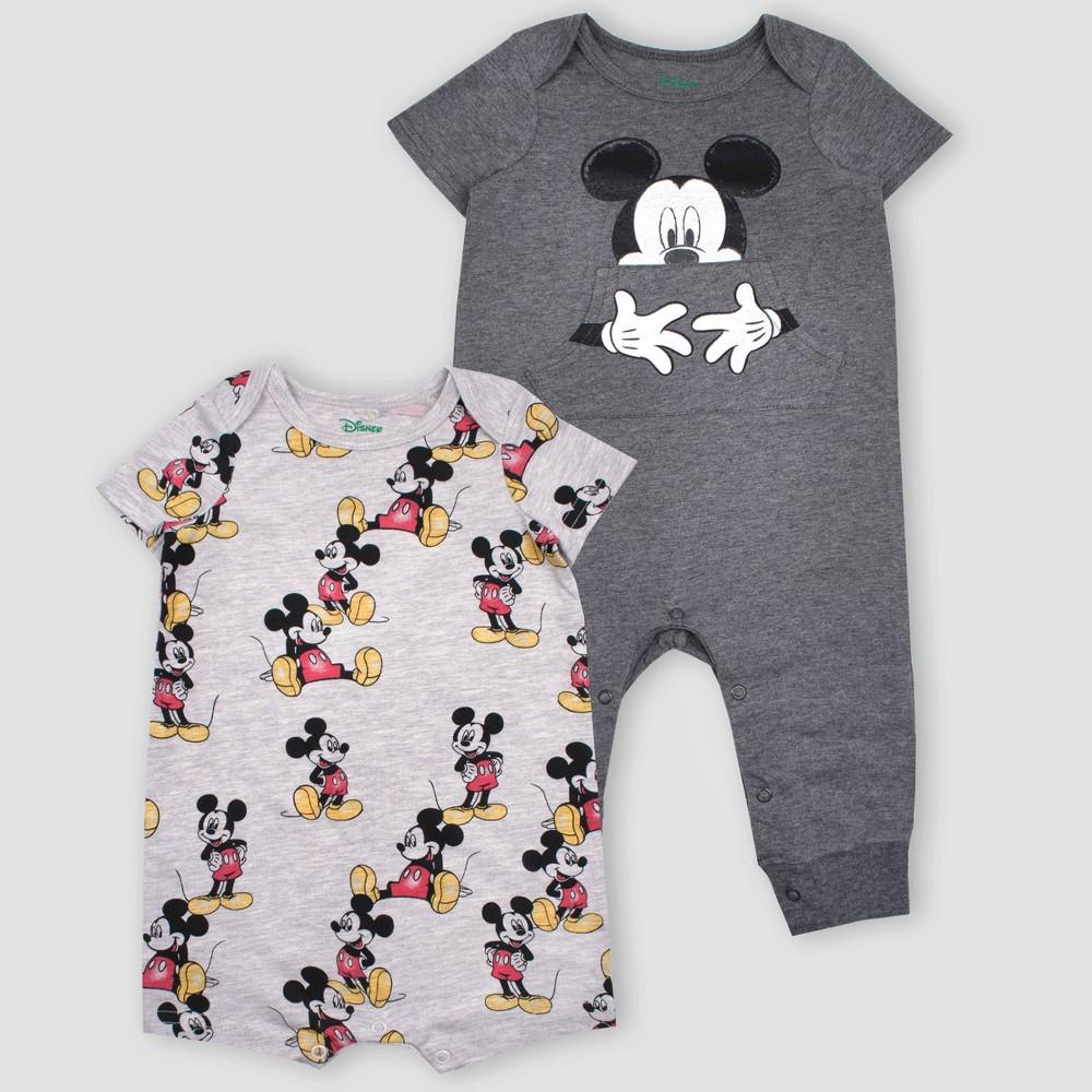 Baby Boys 2pk Disney Mickey Mouse Short Sleeve Rompers Gray 6 9m