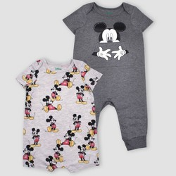 Baby Boys' 2pk Disney Mickey Mouse Short Sleeve Rompers - Gray