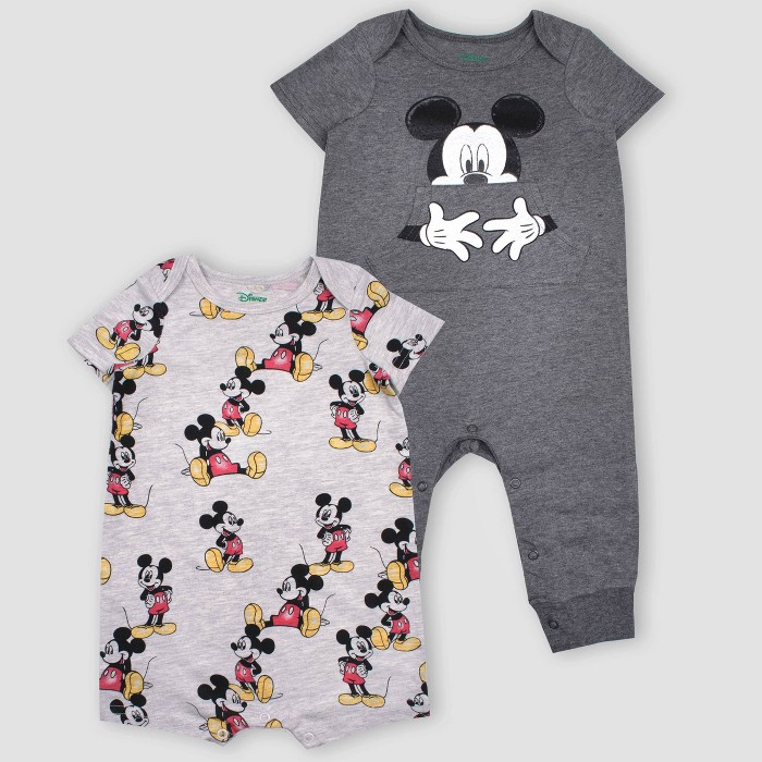 Baby Boys' 2pk Disney Mickey Mouse Short Sleeve Rompers - Gray - image 1 of 1
