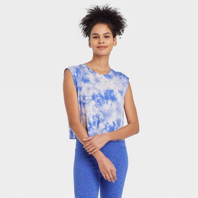 Women's Tie-Dye Muscle Tank Top with Raw Edge - JoyLab™ Blue M