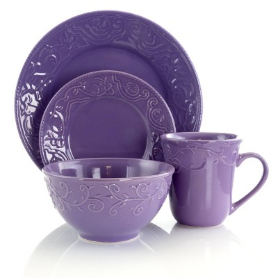 16pc Stoneware Berry Dinnerware Set Purple - Elama