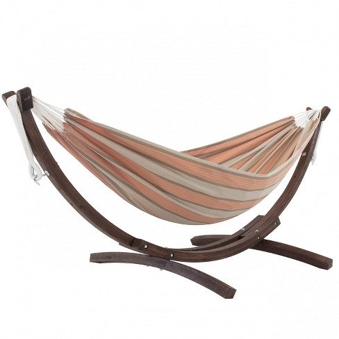Vivere 8 ft Double Sunbrella Hammock with Solid Pine Arc Stand - image 1 of 4