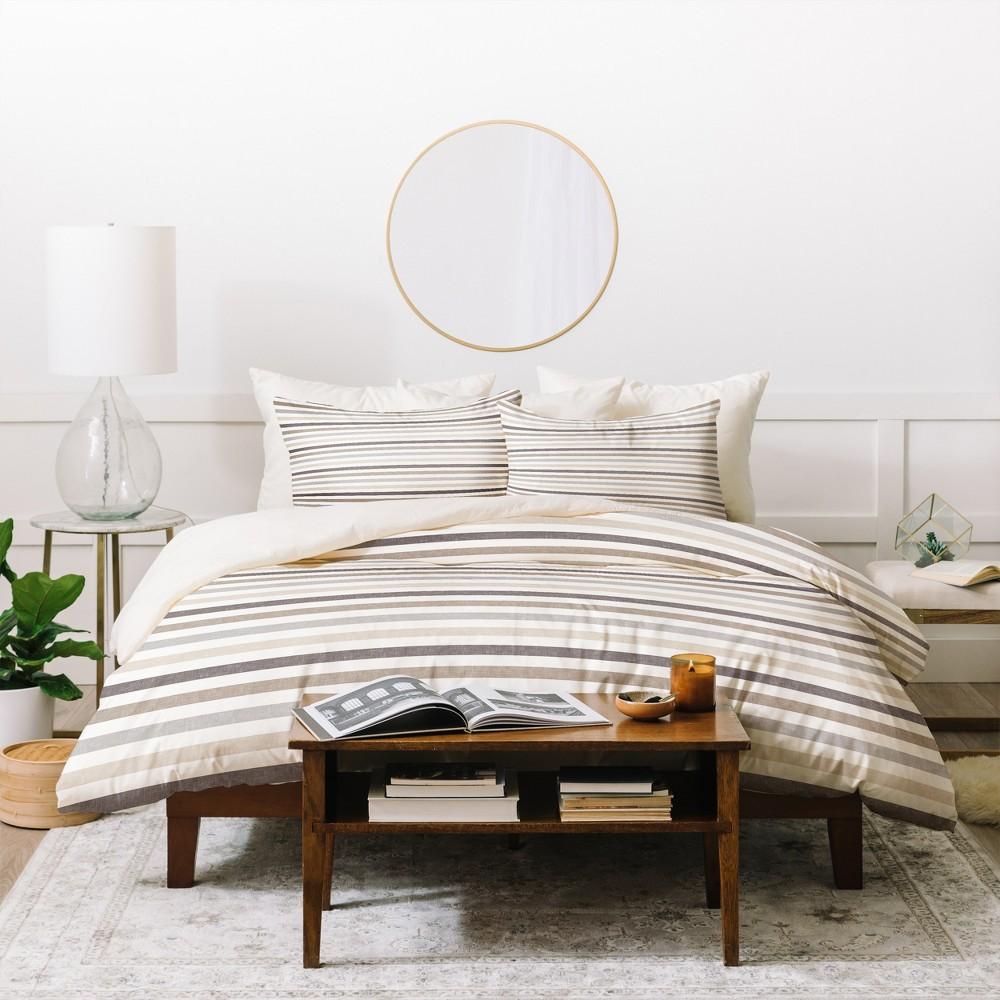 Full/Queen Neutral Stripes Little Arrow Design Co Duvet Cover Set Beige - Deny Designs, Brown