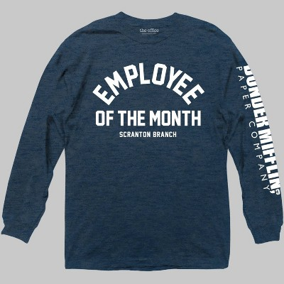 Men's The Office Employee Of The Month Long Sleeve Graphic T-Shirt Navy L