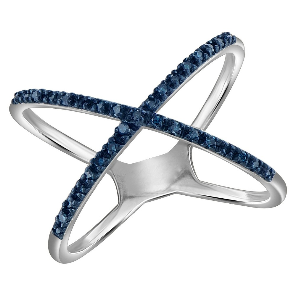 1/10 CT. T.W. Round-Cut Blue Diamond Prong Set X Ring in Sterling Silver - White (8), Size: 6