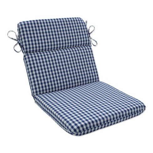 Outdoor/Indoor Rounded Chair Pad Dawson Lapis Blue - Pillow Perfect - image 1 of 1