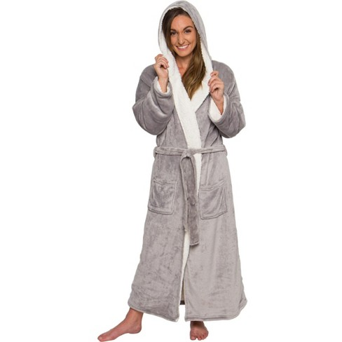 Silver Lilly - Women's Full Length Sherpa Lined Luxury Hooded Bathrobe - image 1 of 4