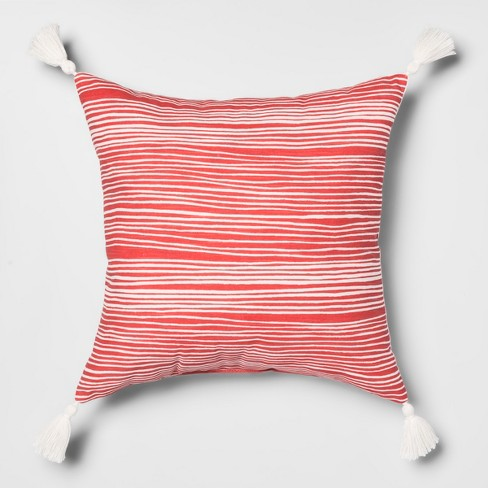 Printed Stripes Square Throw Pillow Red