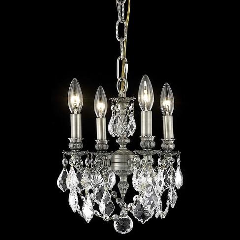 Elegant Lighting 9104D10PW Lillie 4-Light, Single-Tier Crystal Chandelier, Finished in Pewter - image 1 of 1