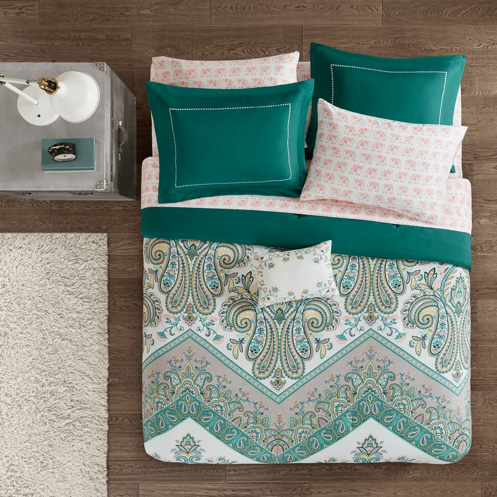 Image of 7pc Twin Allura Complete Bed and Sheet Set Teal (Blue)
