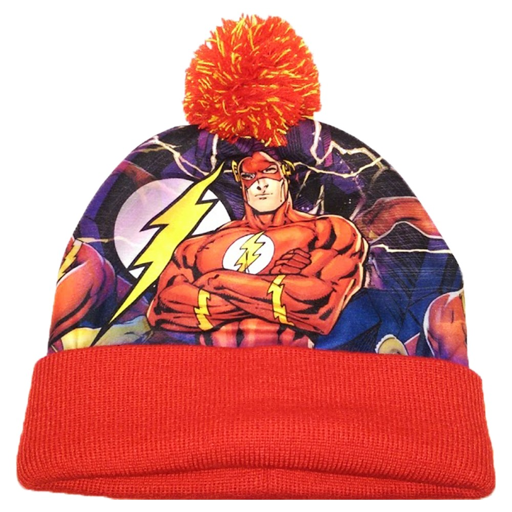 DC Comics Flash Cuff with Pom Knit Hat, Multi-Colored