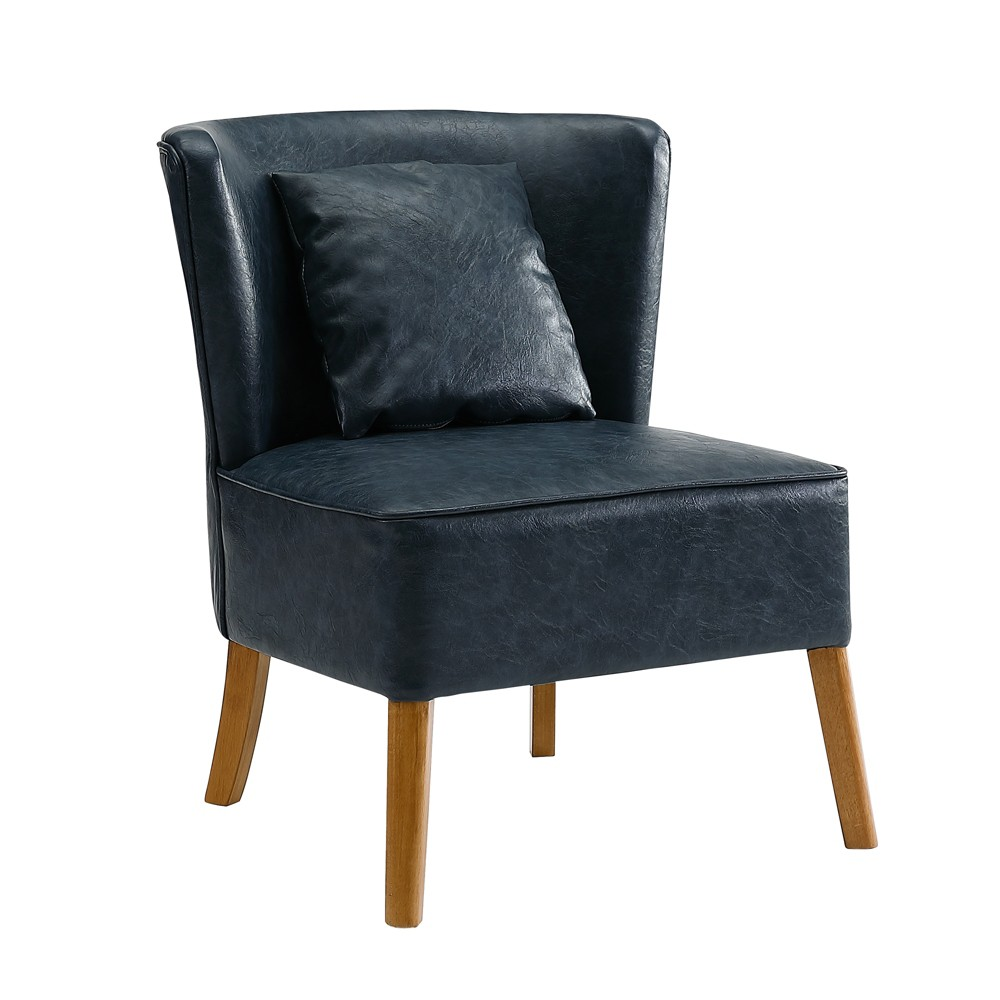Image of 1pc Accent Chair with Curved Back Navy Blue - Saracina Home, Blue Blue