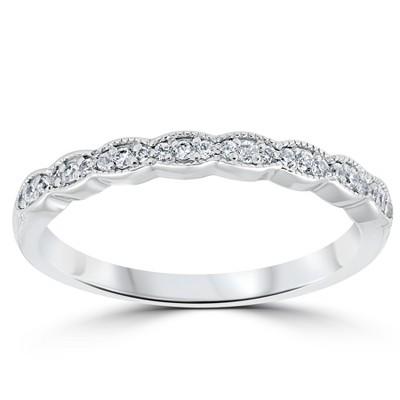 Pompeii3 1/5 cttw Diamond Stackable Womens Wedding Ring 14k White Gold