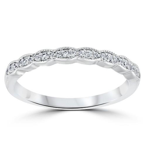 Pompeii3 1/5 cttw Diamond Stackable Womens Wedding Ring 14k White Gold - image 1 of 4