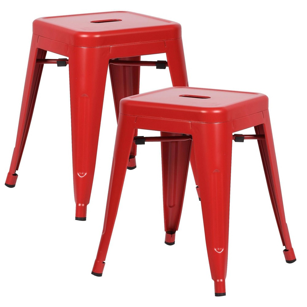 """Image of """"18"""""""" Set of 2 Franco Industrial Stool Red - Poly & Bark"""""""