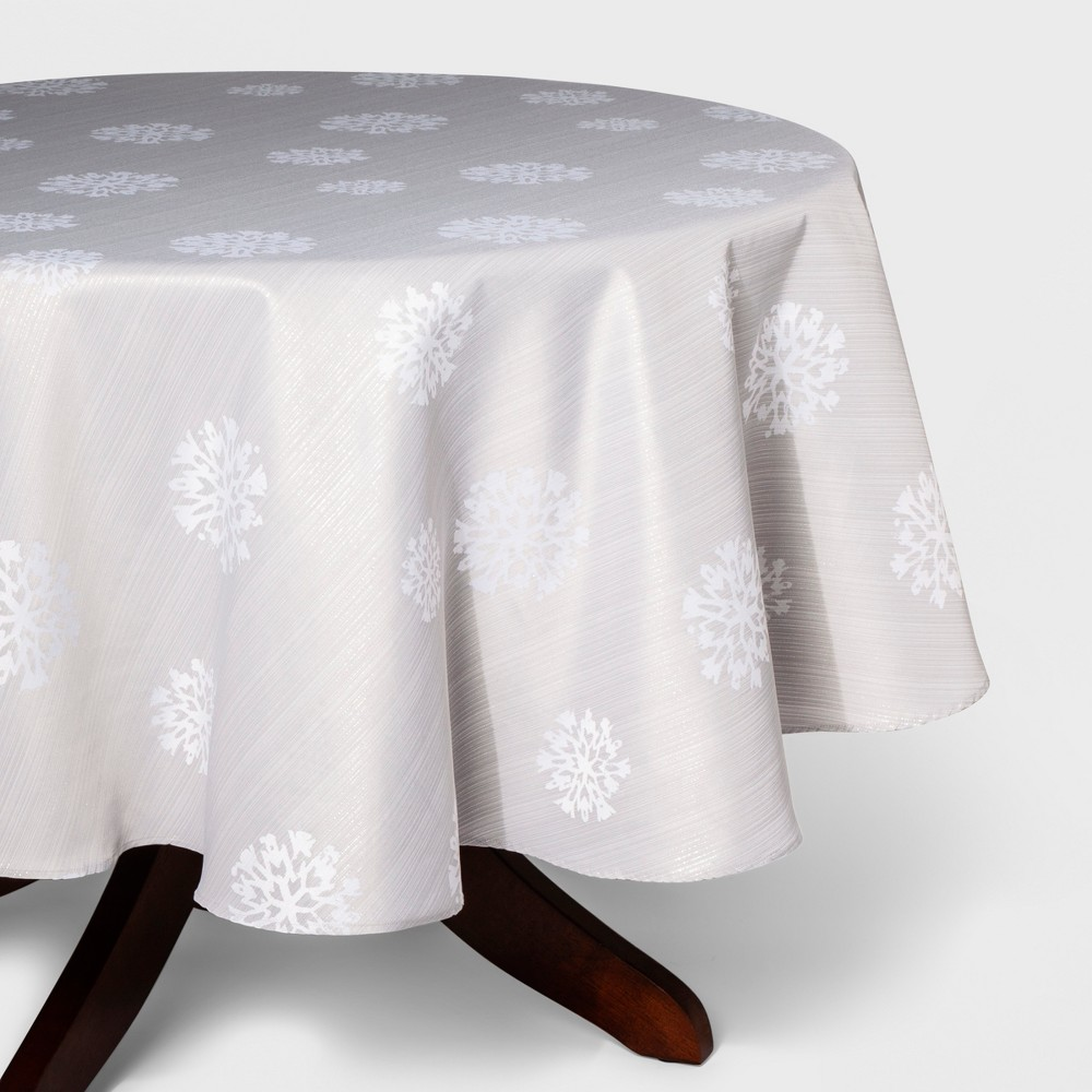 70R Snowflake Print Tablecloth Light Silver - Threshold, Silver Gray
