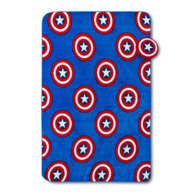 Marvel Captain America Shield Nogginz Blanket Set Blue