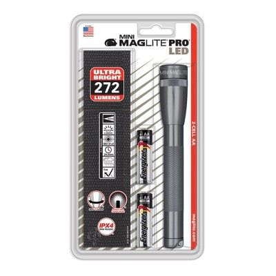 MAGLITE Pro Mini LED Flashlight with 2 AA Batteries and Holster - Black