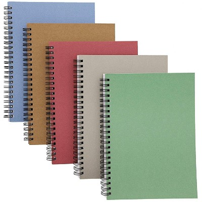 5 Packs Kraft Notebook Journals Note Book Pad Schools College Ruled, 5 Colors, 6 x 8 inches