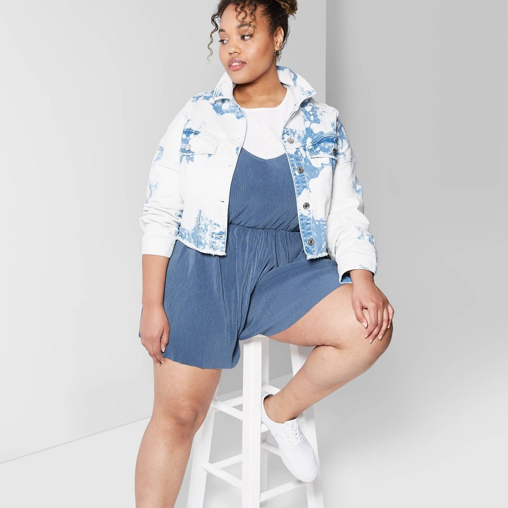 Women's Plus Size Strappy V-Neck Rib-Knit Romper - Wild Fable Muted Blue 1X