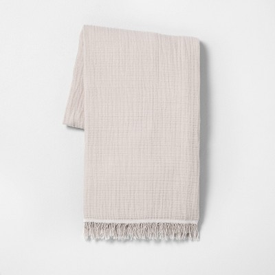 Solid Gauze Throw Blanket Taupe - Hearth & Hand™ with Magnolia