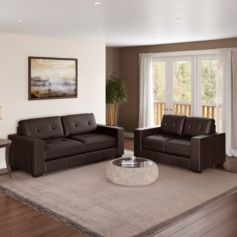 Corliving 2pc Club Tufted Bonded Leather Sofa Set Chocolate Brown