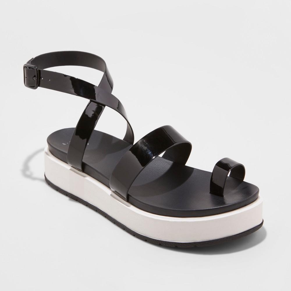 Women's Fran Flatform Toe Ring Sandals - A New Day Black 6.5