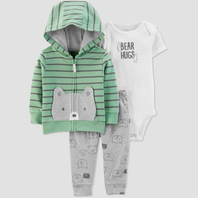 Baby Boys' Celery Bear Cardigan Top & Bottom Set - Just One You® made by carter's Green 6M