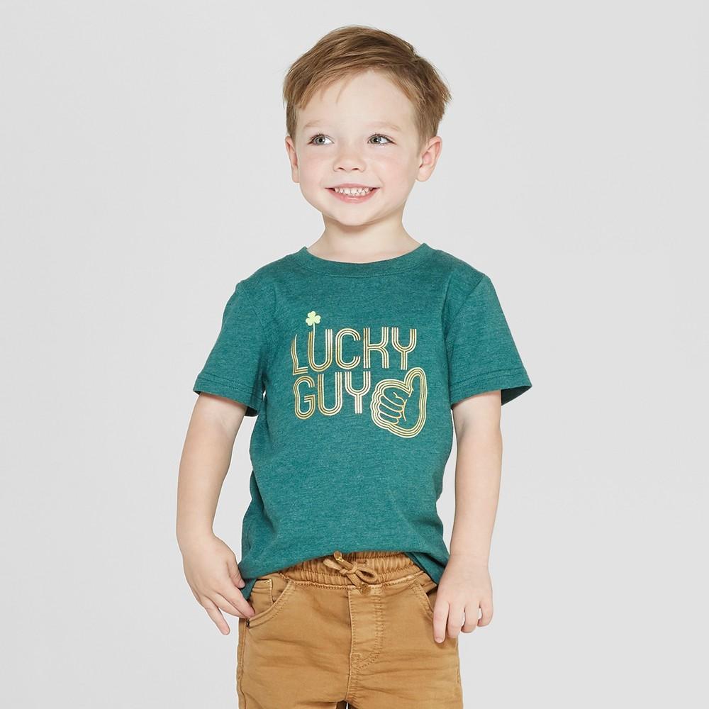 Toddler Boys' Short Sleeve St. Patrick's Day Lucky Guy T-Shirt - Cat & Jack Dark Green 3T