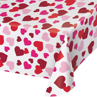 3ct Valentine All Over Hearts Plastic Tablecloths Red/Pink
