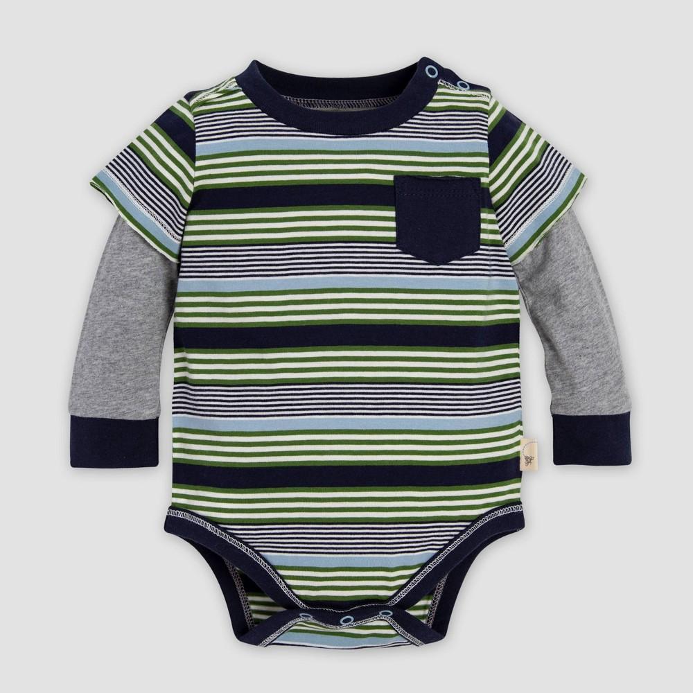 Image of Burt's Bees Baby Baby Boys' Multi Variegated Stripe Organic Cotton Bodysuit - Blue/Gray 0-3M, Boy's