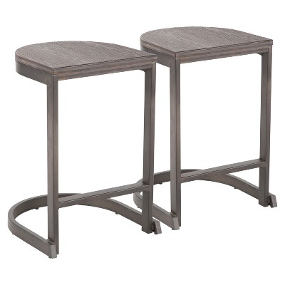 Set of 2 Industrial Demi Counter Height Barstools - LumiSource