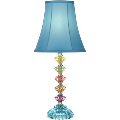 360 Lighting Bohemian Accent Table Lamp Stacked Clear Colored Glass Teal Blue Bell Shade for Kids Room Bedroom Bedside