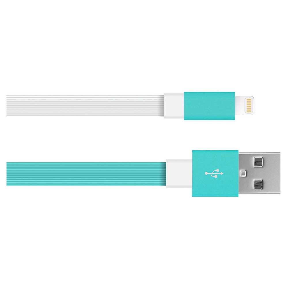 Iphone Charging Cable 8 Pin Flat Tpe Teal White