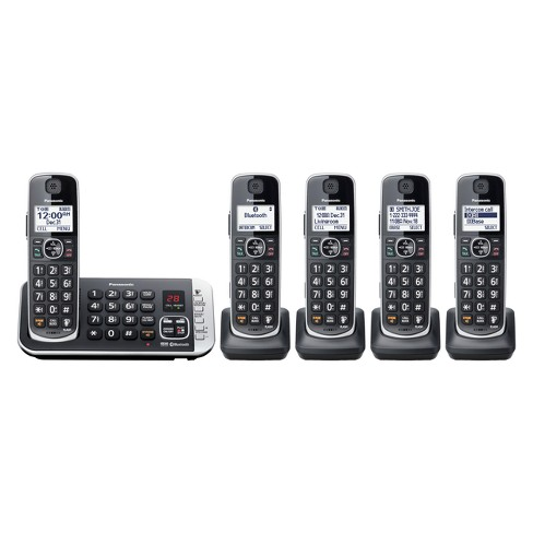 Panasonic Cordless Phone with Link to Cell and Digital Answering Machine, 5 Handsets - Black (KX-TGE675B) - image 1 of 2