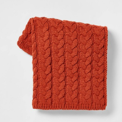 Solid Chunky Cable Knit Throw Blanket Orange - Threshold™