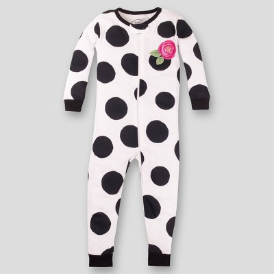 Lamaze Baby Girls' Organic Cotton Dots Footed Stretchy Pajama Romper - Black