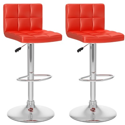 Set of 2 Adjustable High Back Leatherette Barstool - Corliving