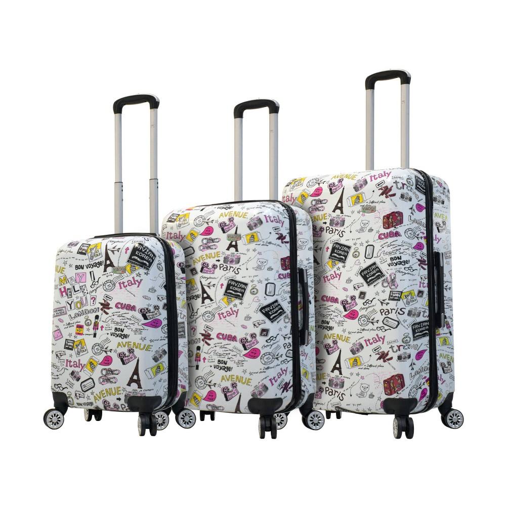 Mia Viaggi Italy 3pc Hardside Luggage Set - Vintage Traveler, Multi-Colored