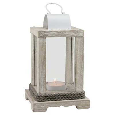 Stonebriar Coastal Worn White Wood and Metal Candle Lantern