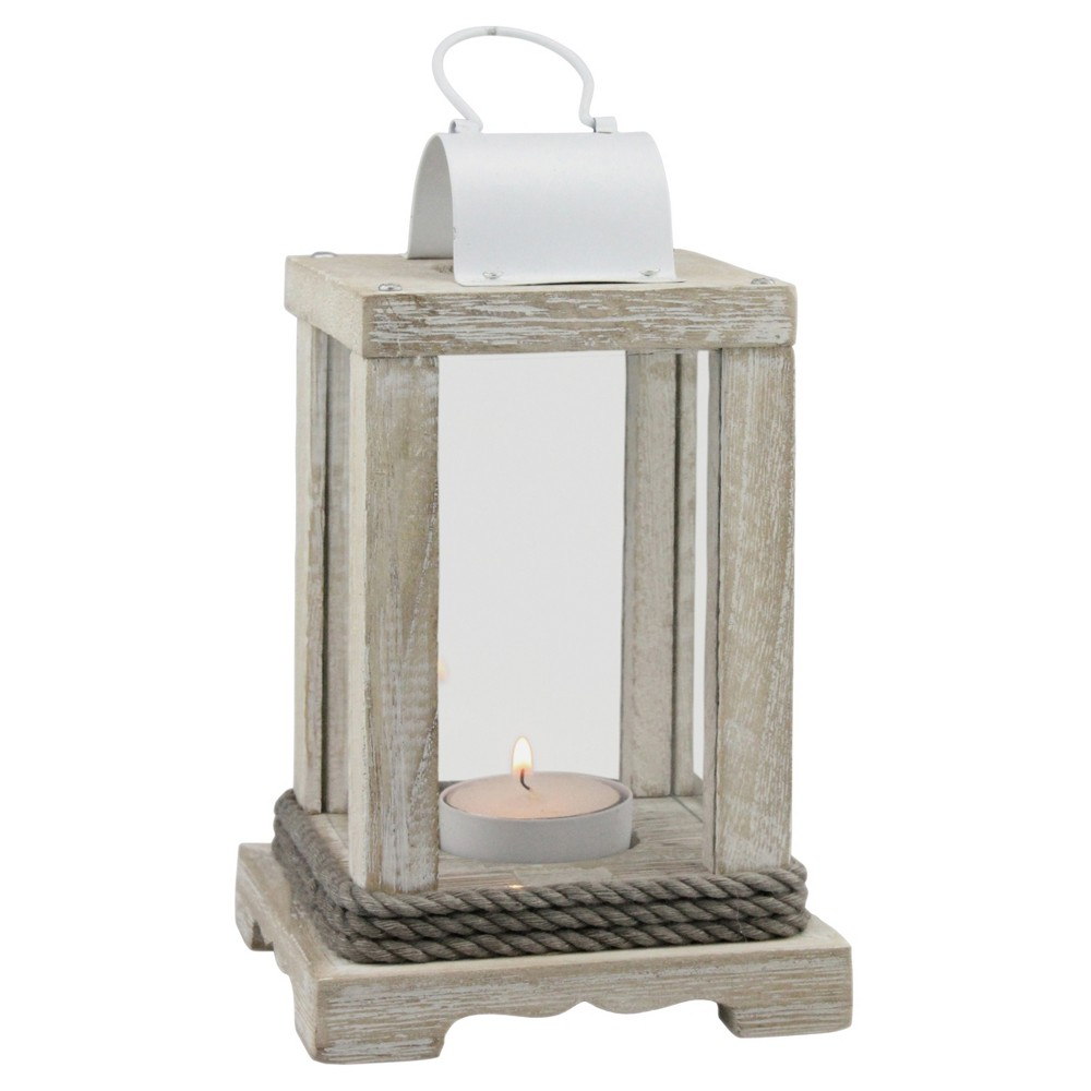 Top Stonebriar Coastal Worn White Wood and Metal Candle Lantern