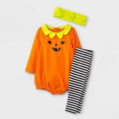 Baby Girls' 2pc Pumpkin Top & Bottom Set - Cat & Jack™ Citrus Yellow Newborn