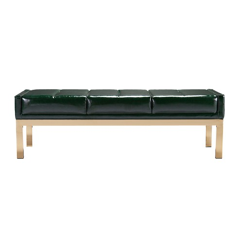 Aiden Lane Rusalka Upholstered Bench Dark Green With Brushed Brass