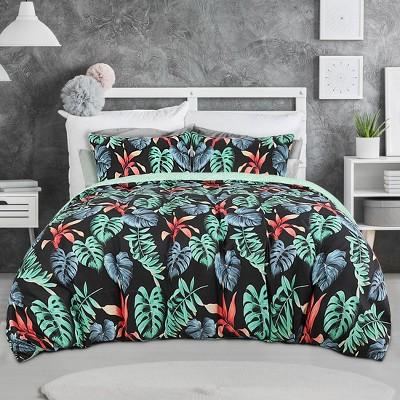 3 Pcs Polyester Tropical Rainforest Plant Pattern Bedding Sets Queen Multicolor - PiccoCasa