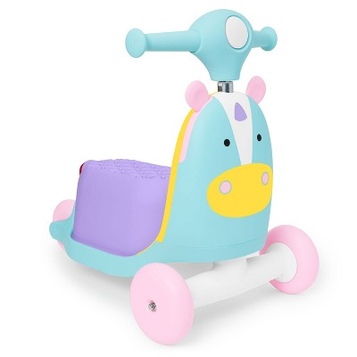 Skip Hop Kids' 3-in-1 Ride On Scooter and Wagon Toy - Unicorn