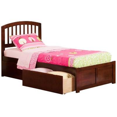 Richmond Twin Flat Panel Foot Board w/ 2 Urban Bed Drawers Antique Walnut - Atlantic Furniture