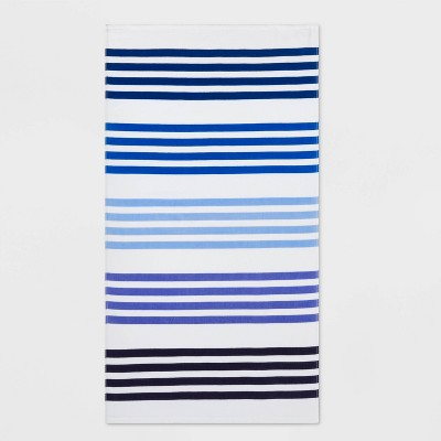 Basics Multi Stripe Beach Towel Blue - Sun Squad™