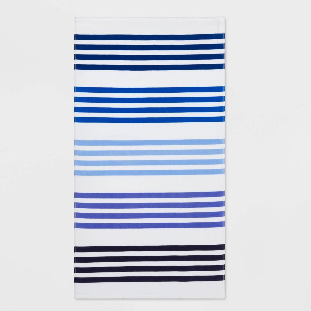 Image of Basics Multi Stripe Beach Towel Blue - Sun Squad
