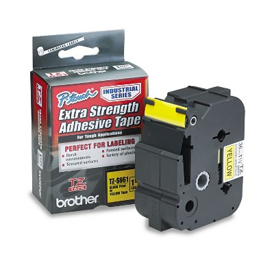 Brother P-Touch TZ Extra-Strength Adhesive Laminated Labeling Tape 1-1/2w Black on Yellow TZES661